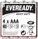 Energizer Eveready Батарейка солевая мизинчиковая R03 тип ААА 4 шт